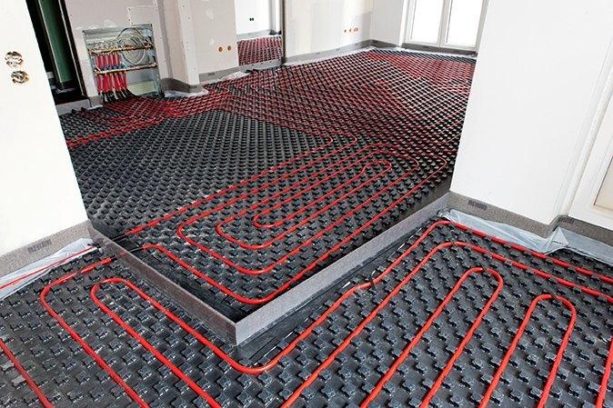 Underfloor heating pipe installation