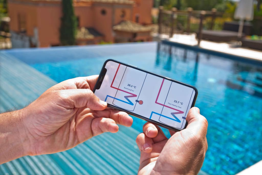 Taking pool data from solar heating